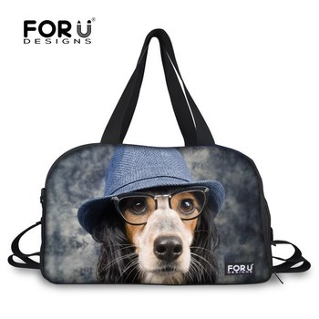 Brand Fashion Designer Cute Dog Face Women Large Travel Bag Female Tote Canvas Travelling Duffel Bag Weekend Luggage Bag Retail