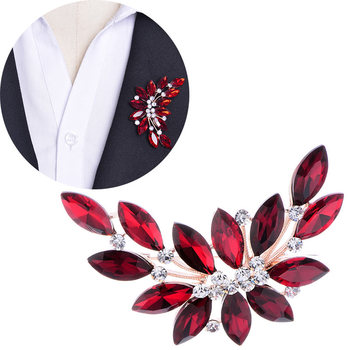 Flower Austrian Crystal Brooch Clear Brooches Women Pins Pin Collar Scarf Buckle for Girl Party Jewelry M514 @ KQS