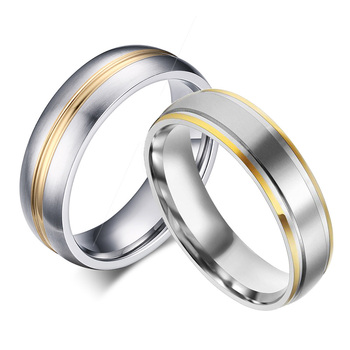 Gold-Color Titanium Rings 316L Stainless Steel Rings for Men Women Engagement Wedding Band Classic Jewelry Full Size