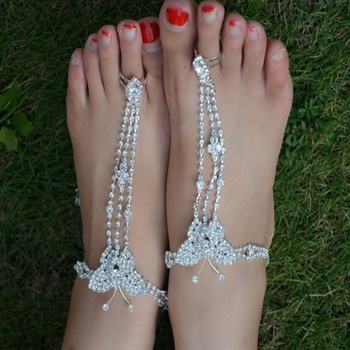 New Summer Style Beach Rhinestone Hand Tassel Toe Chain Link Anklets Bracelet Foot Jewelry Body Jewelry For Women