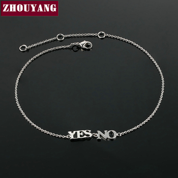 "Top Quality ZYA005 ""YES or NO"" Silver Color Anklets Jewelry Austrian Crystals Wholesale"