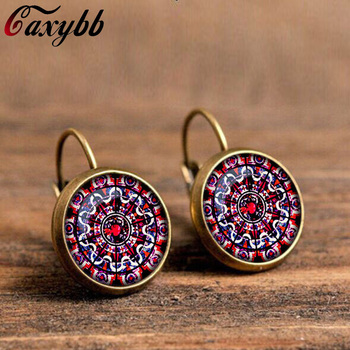Vintage mandala flower earrings jewelry om symbol buddhism zen charm 18mm dome crystal henna yoga earring accessories c-e331